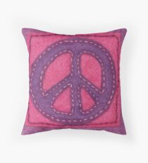 Hand-Sewn Peace Sign Throw Pillow