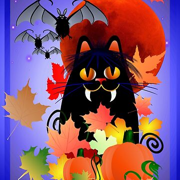 Black Halloween Kitty And Bats by Lotacats