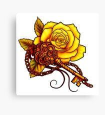 yellow rose and key Canvas Print