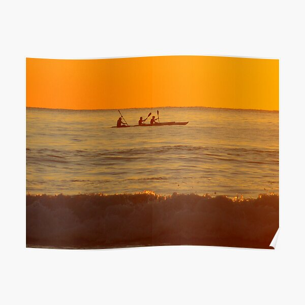 Kayaking at Sunrise Poster
