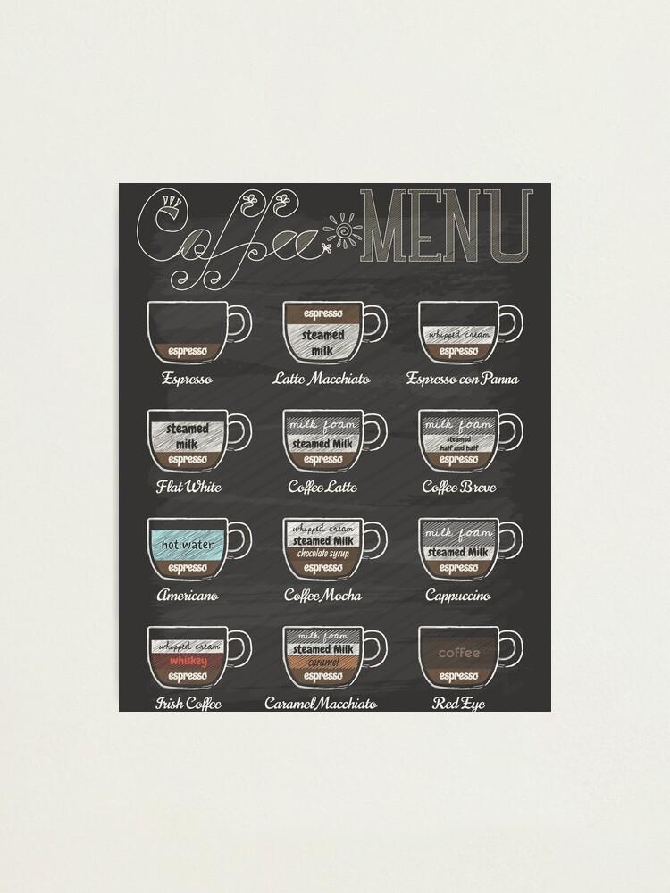 Alternate view of Coffee Shop Menu Photographic Print