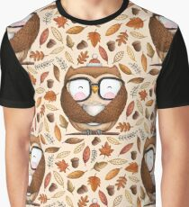 Seamless Owl Pattern Graphic T-Shirt