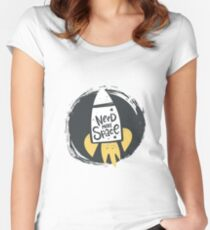 Need more space lettering. Cartoon vector poster design Women's Fitted Scoop T-Shirt