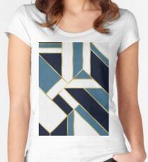 Blue and gold pattern Women's Fitted Scoop T-Shirt