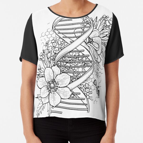 Graphic DNA structure with floral design Chiffon Top