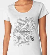 Graphic DNA structure with floral design Women's Premium T-Shirt