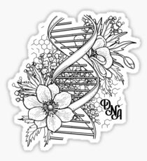 Graphic DNA structure with floral design Sticker