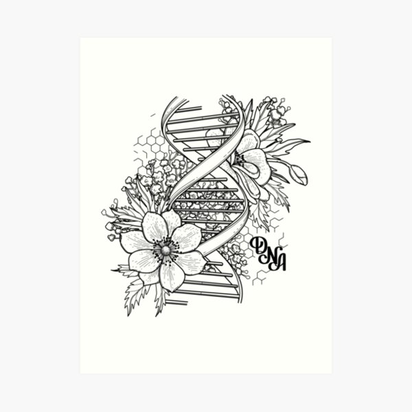 Graphic DNA structure with floral design Art Print