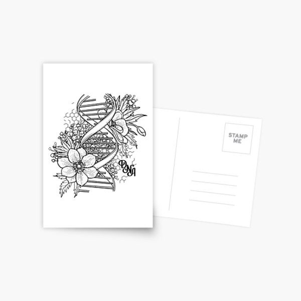 Graphic DNA structure with floral design Postcard