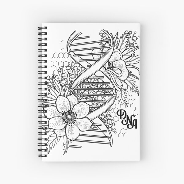 Graphic DNA structure with floral design Spiral Notebook