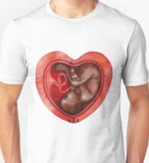 Watercolor fetus inside the heart shaped womb T-Shirt