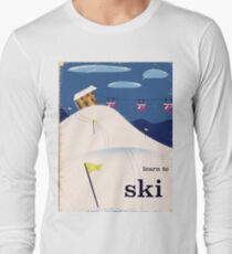 learn to ski vintage cartoon T-Shirt