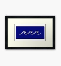 Rough Sea Pattern - white on blue Framed Print