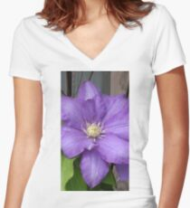 Purple Clamatis Bloom Women's Fitted V-Neck T-Shirt