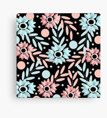 estampado de flores rosa y azules con fondo negro Canvas Print