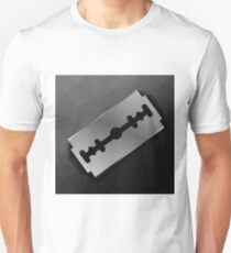 Metal Razor Blade on Dark Polygonal Background T-Shirt