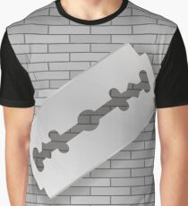 Realistic Razor Blade Icon on Gray Brick Background Graphic T-Shirt