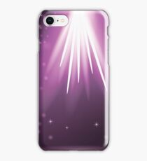 Purple Rays of Magic Lights on Blurred Starry Background. Night Sky. iPhone Case/Skin