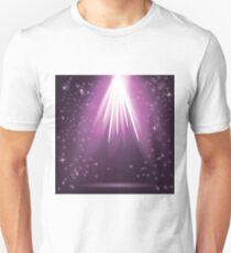 Purple Rays of Magic Lights on Blurred Starry Background. Night Sky. T-Shirt