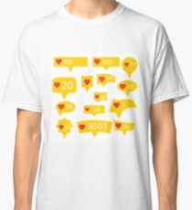 Set of Yellow Icons with Red Heart Isolated on White Background Classic T-Shirt