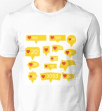Set of Yellow Icons with Red Heart Isolated on White Background T-Shirt