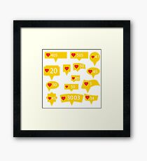 Set of Yellow Icons with Red Heart Isolated on White Background Framed Print