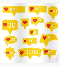 Set of Yellow Icons with Red Heart Isolated on White Background Poster