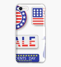 Presidents Day Icons Isolated on White Background iPhone Case/Skin