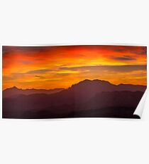 Red sky and mountain silhouettes Poster