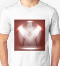 Spotlights Isolated on Red Background. Stage Spotlight Background T-Shirt
