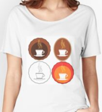 Cup of Coffee Icons Isolated on White Background Women's Relaxed Fit T-Shirt