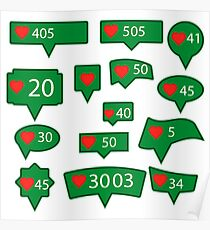 Set of Green Icons with Red Heart Isolated on White Background Poster