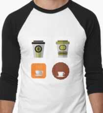 Cup of Coffee Icons Isolated on White Background Men's Baseball ¾ T-Shirt