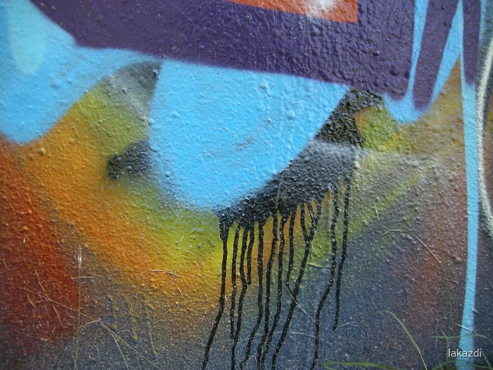 Purple blue paint drips splatter by lakazdi