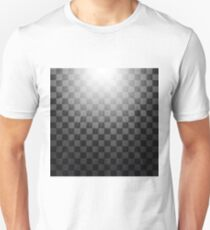 Transparent Light on Gray Checkered Background. Blurred Sun Rays. T-Shirt
