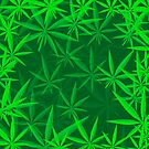 Green Cannabis Leaves Background. Green Marijuana Pattern by valeo5