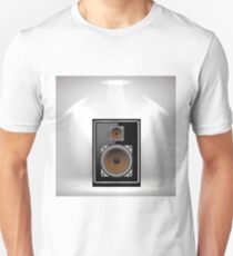 Musical Black Speaker on Light Gray Background T-Shirt