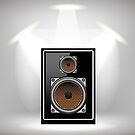 Musical Black Speaker on Light Gray Background by valeo5