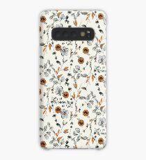 Orange Flower Pattern Case/Skin for Samsung Galaxy