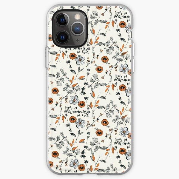 Orange Flower Pattern iPhone Soft Case