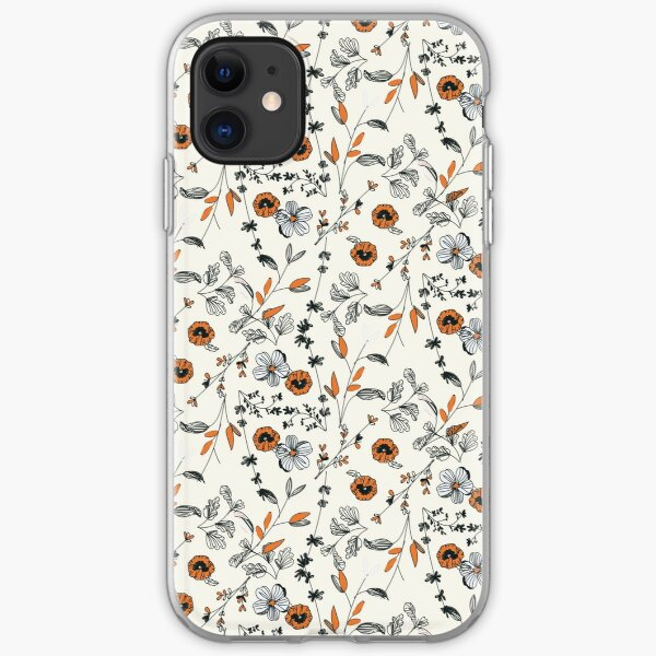 Orange Flower Pattern iPhone Soft Case