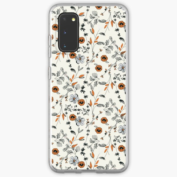 Orange Flower Pattern Samsung Galaxy Soft Case