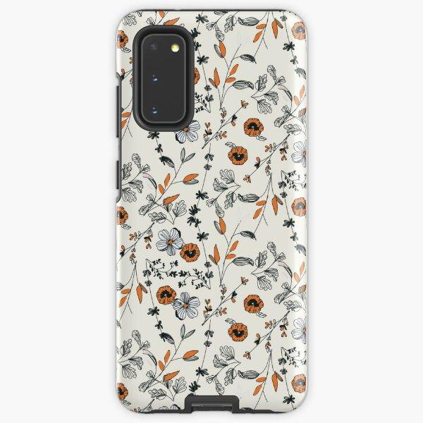 Orange Flower Pattern Samsung Galaxy Tough Case