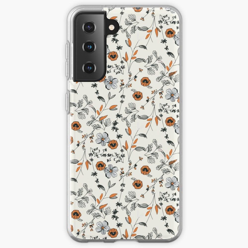 Orange Flower Pattern Case & Skin for Samsung Galaxy