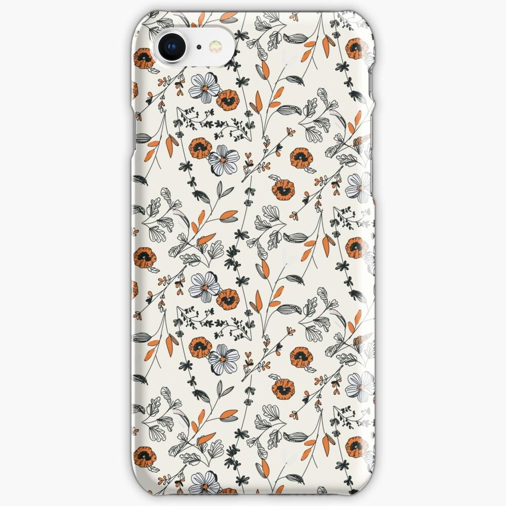 Orange Flower Pattern iPhone Case & Cover