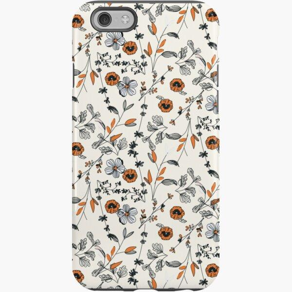 Orange Flower Pattern iPhone Tough Case