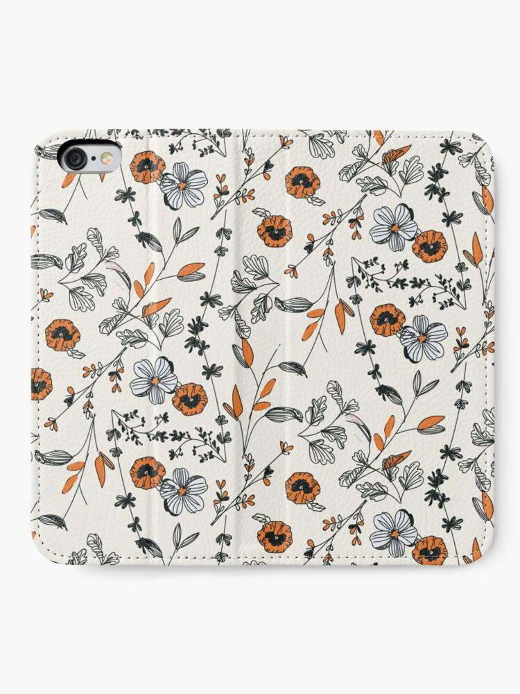 Alternate view of Orange Flower Pattern iPhone Wallet