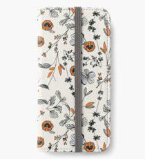 Orange Flower Pattern iPhone Wallet