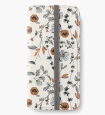 Orange Blumenmuster iPhone Flip-Case/Hülle/Klebefolie