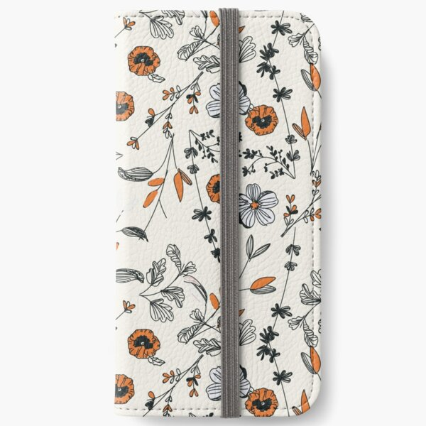 Orange Flower Pattern iPhone Wallet